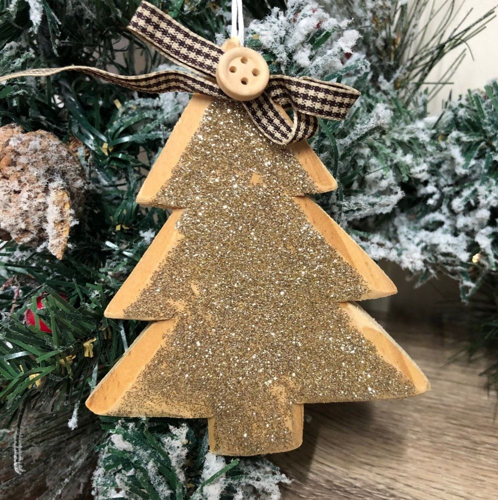 Golden Sparkle Christmas Tree Hanging Decoration with Gingham Bow & Beading